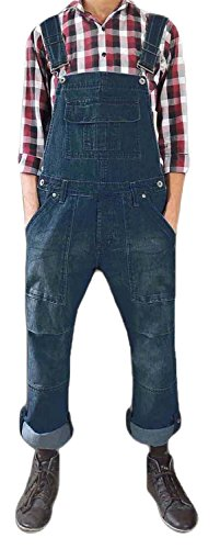 Men Women Unisex Dark Wash Denim Onesie Dungarees All In One Piece Bib Overalls 100% Cotton (Womens Denim-overalls)