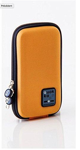Quokka Smartphonetasche orange - Tasche für Rollstuhl, Rollator, Scooter, Fahrrad, Elektro-Rollstuhl, Wetterfest, Stoßfest mit Magnetverschluss und kontrastreicher Innenauskleidung (Elektro-rollstuhl)