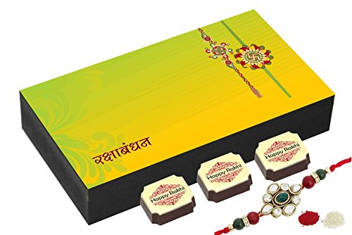 CHOCOCRAFT Rakhi gifts for brothers - 6 Chocolates Gift Box - Raksha bandhan gifts to india with Rakhi