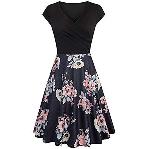 Frauen Cross V Neck Kleider Ärmel Elegant Ausgestellt A Line Kleid Casual Vintage Midi Short Sleeve Dress Vintage Womens Flares