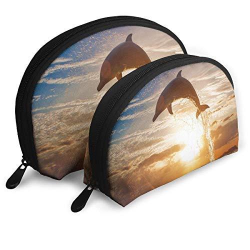 Beutel Reißverschluss Kulturveranstalter Reise Make-up Clutch Bag Dolphin Sunset Ocean Aufbewahrungsbeutel