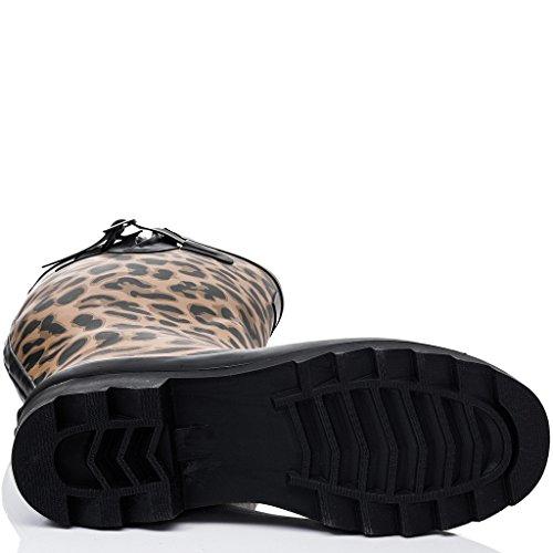 SPYLOVEBUY TRISHA Damen Verstellbare Schnalle Flache Fest Gummistiefel Regenstiefel Leopard - Gummi