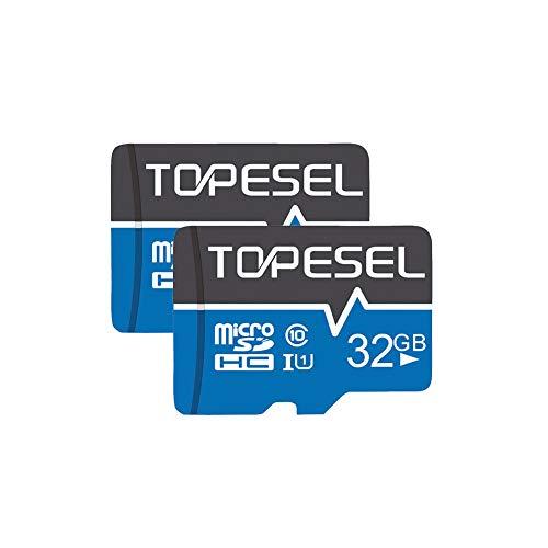 TOPESEL Micro SD Karte 32GB, SD-Karte MicroSD Speicherkarte SDHC High Speed bis zu 85 MB/s Micro SD Memory Card C10, U1 Mini TF Karte für Handy Samsung Huawei, 2 Stück Blau