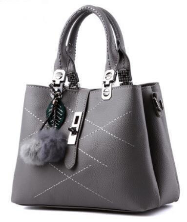 LDMB Damen-handtaschen Trendige klassische süße Lady Schulter Messenger Tasche light gray