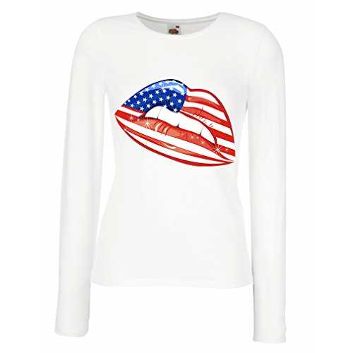 Weibliche Langen Ärmeln T-Shirt Patriotic USA Lips- American Flag Clothing (Medium Weiß Mehrfarben) (T-shirt Fitted Flag American)