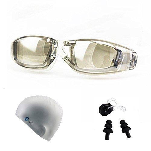 Cotrdocigh Schwimmen Brillen Set Anti Nebel UV-Schutz Triathlon Schwimmbrille + Badekappe + Nase Clip + Ohrstöpsel für Erwachsene Männer Frauen Mädchen Youth Kinder Kind, Transparent