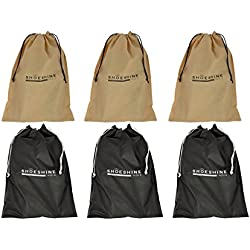 Shoeshine India Black & Beige Shoe Bag (Set Of 6)
