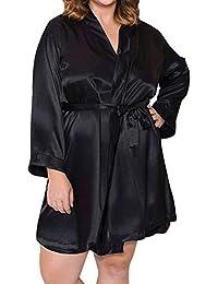 DOGZI Lencería Mujer Erotica Sexy Lencería Talla Grande Bata de baño Conjunto de lencería Mujer Seda Cordón Túnica Vestir Picardias Camisón Bata de Noche Ropa de Dormir S~5XL
