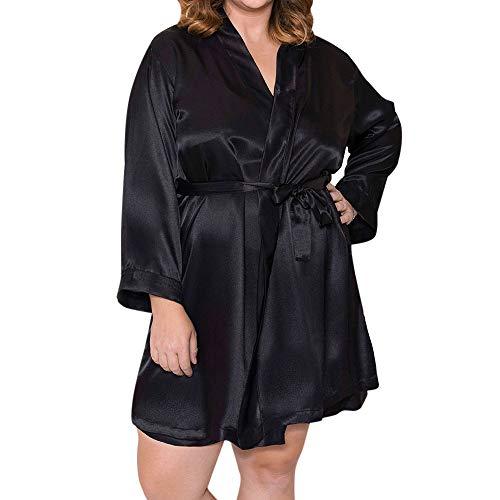 Damen Morgenmantel Kimono, Satin Nachtwäsche Bademantel Robe Kimono Negligee Seidenrobe Locker Schlafanzug, Büste 132cm, 51,97 Zoll, große Größe für Alle