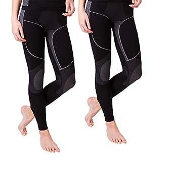 2 Stück Lange Damen-Unterhosen, Grösse S/ M schwarz/grau, Skiunterhose, Funktionsunterwäsche, innen angeraut