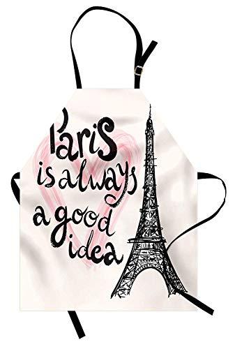 (Eiffelturm Schürze, Beschriftung im Herzen Modern Europe Dream Tour Kunstvolle Skizze Illustration, Unisex-Küche Latzschürze mit verstellbarem Hals zum Kochen Backen Gartenarbeit, Creme Rosa Schwarz)