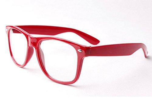 Rot Clear Lens Wayfarer-Style Nerd Geek Retro Hipster Brille Fancy Rave Party Kleid
