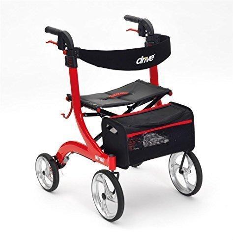 Drive Devilbiss Healthcare rot Nitro 4Rädern Premium Rollator mit 25,4cm vorne Rollen (Standard Höhe) (Roter Rollator Mit Sitz)