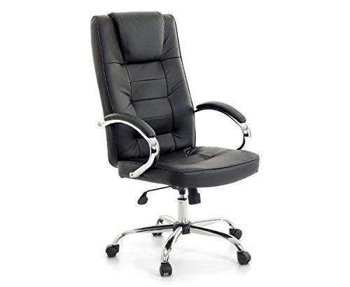 Leder Chefsessel Massagesessel San Diego Farbe schwarz + chrom Bürostuhl mit Massage + Heizung / Sitzheizung für Büro Sessel Ledersessel Drehstuhl günstig
