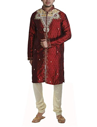 JBN Creation Men Maroon Silk Sherwani With Hand Embroidery (Size: 38)
