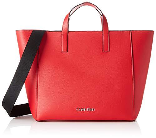 Calvin Klein Damen Strap Shopper Tote, Rot (Lipstick Red), 15.5x31x41 cm -