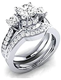 ELECTROPRIME Men Women Fashion CZ Inlaid Wedding Bands Lover's Ring Set Bridal Jewelry