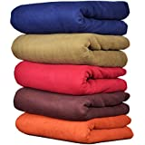 Goyal's Plain Fleece Single Bed Blanket ( 58X88 Inch, Multicolour) - Pack of 5