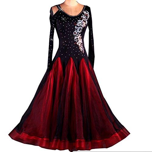 (Ballsaal Tanzkleider Lange Ärmel Übe Tanz Strass Wettbewerb Kleider Modern Walzer Tango Glatte Standardtanz-Kostüme Für Frauen Flamenco Kleider Tanz Zeigen, Red, S)
