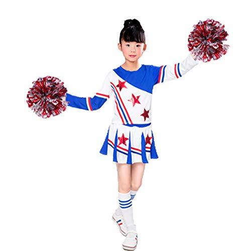 YAGATA Kinder Mädchen Cheerleader Kostüm Minirock Uniform Jungen Cheerleader Bekleidung mit 2 Pompoms und Socken Karneval Fasching Party Halloween,Blau,140 (Blauer Cheerleader Kostüm Kinder)