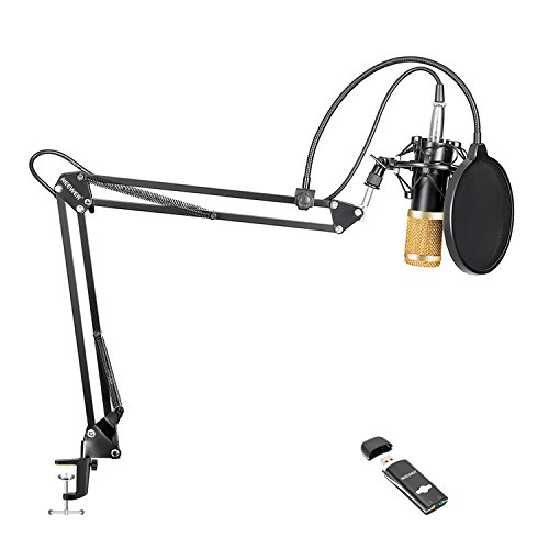 Neewer NW-800 Pro PC-Mikrofon-Kit mit USB-Soundkarten-Adapter, Shock Montage, Mikrofon-Aufhängung Scherenarmständer (Schwarz), Pop-Filter für Computer Studio Aufnahme Rundfunk (Neewer Mikrofon-aufhängung)