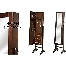 DonRegaloWeb - Espejo de pie con joyero de madera con puerta en color nogal