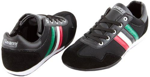 Preisvergleich Produktbild LUVANNI Herren Sneaker Turnschuh Freizeitschuh mit echtem Leder, Farbe Schwarz, Gr. 41