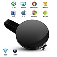 Wifi Display Dongle - Wireless HDMI Dongle, 1080P Mirroring Dongle for IOS/Android, Samsung/LG/Nokia/IPhone, iPad Air/Mini/Pro, Support DLNA/Airplay/Miracast/Chromecast by Techplus Direct (black)