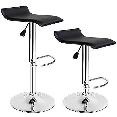 TecTake 2 Tabourets de bar chaise fauteuil bistrot réglable pivotant siège design noir