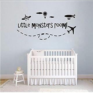 Mrhxly Boys Room Decor Aircraft Hot Air Balloon Vinyl Wall Sticker Little Monsters Room Wall Decal Kids Room Airplane Murals118 * 55Cm