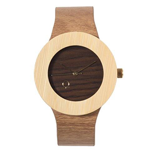 seQoya - Crooked | Reloj de Madera con Esfera de Madera y Correa de Piel ecológica simulando Madera Estampada | Reloj Hombre y Mujer | Diseño único y Original