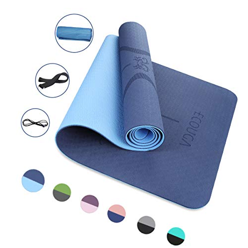 Image of ECOUGA Yogamatte, rutschfeste TPE ECO Gymnastikmatte für Yoga (Blau)