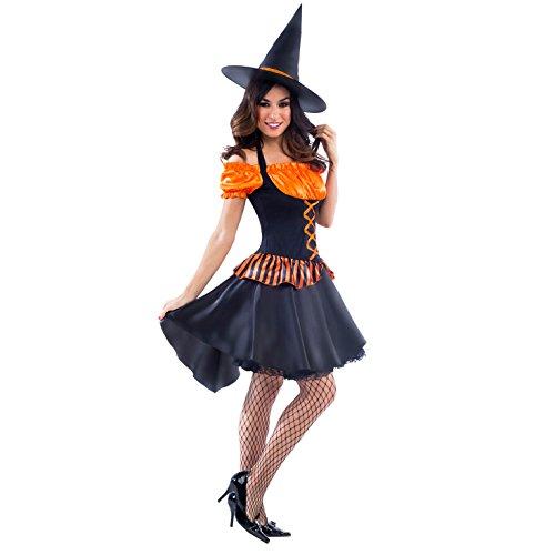 Unbekannt Damen Hexen Kostüm Orange Erwachsener Hexen Hut Kleiden Oben Magie - X-Groß