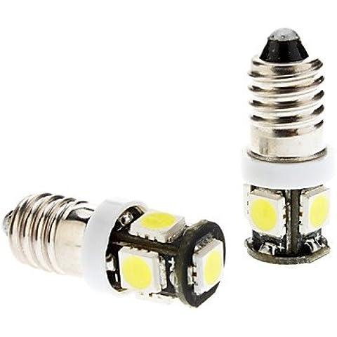 FULLModerna lampadina auto E10 2W 5x5060SMD Strumento LED bianco / Targa / segnale di girata (Girata Del Lato Del Segnale Indicatore Luminoso)