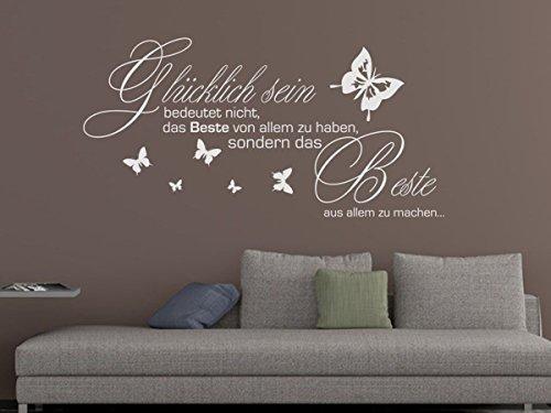Wandtattoo-bilder® Wandtattoo Glücklich sein bedeutet nicht Nr 2 mit Schmetterlingen Wanddeko Dekoideen Größe 80x39, Farbe Schwarz