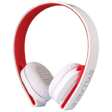Syllable G600 Stereo Portable Wireless Bluetooth Headphone Stereo Headsets Noise Cancelling Noise Reducing Reduction Noise Isolation Ear Muffs Ear Phone Deep Bass On Ear Over Ear Bluetooth 4.0 Wireless Headsets for iPhone 5 iPhone 6 Samsung Android Phones Tablets MP3 Players Walkman Music Player Personal Stereo T-AMP White