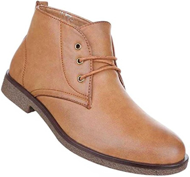 Herren Boots Schuhe Schnürer Stiefeletten Used Optik Schwarz Camel Beige 40 41 42 43 44 45
