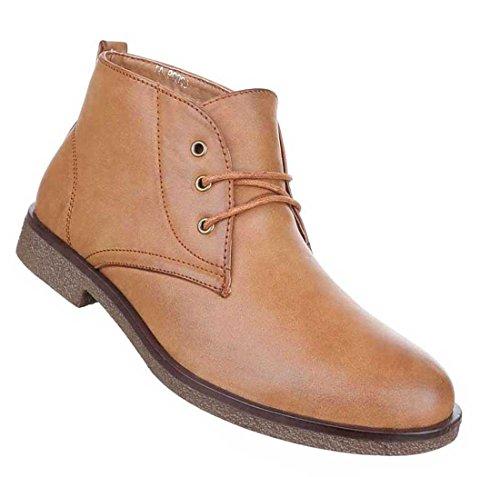 Herren Boots Schuhe Schnürer Stiefeletten Used Optik Schwarz Camel Beige 40 41 42 43 44 45 Camel