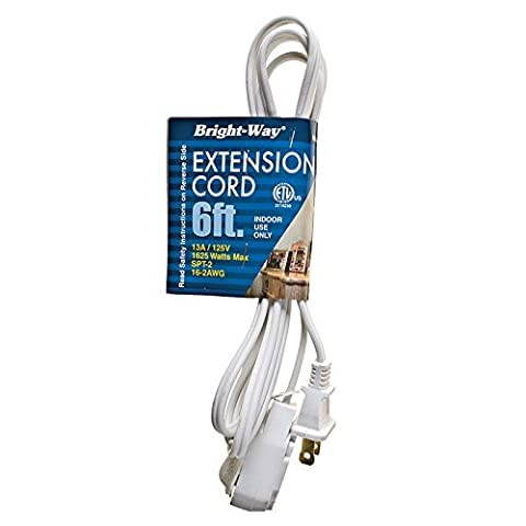 6 Ft. Indoor Household Extension Wire Cord with Tri-outlets & Safety Cover. White by Bright-Way