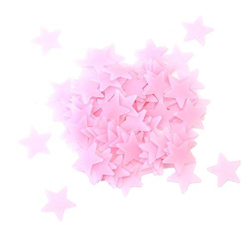 Hengsong Leuchtsterne, Sterne Aufkleber Wandaufkleber, Glühen Im Dunkeln, aus Kunststoff, als Dekoration für Kinderzimmer und Schlafzimmer, 100 Stück (3*3cm, Rosa) (Decke Dekoration)