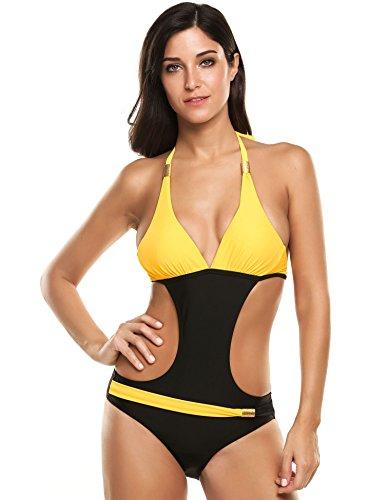 Ekouaer Damen Badeanzug Bikini Sexy Halter Einteiler Gepolsterte Backless Schwimmanzug Kontrast Farbe Patchwork Monokini EU 38(Herstellergröße:M) Gelb (Einzigartige One Bademode Piece)