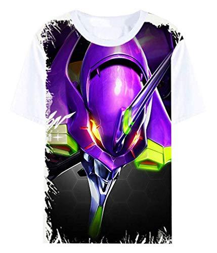 Anime Neon Genesis Evangelion Eva T-Shirt Cosplay Kostüm Sommer Kurzarm Tee Top Shirts (Color : Wei 9, Size : XL)
