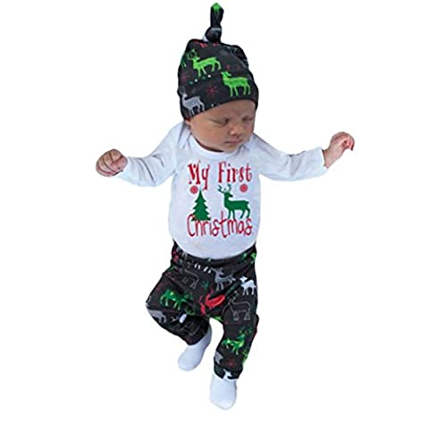 Kolylong Christmas Infant Baby Boy Girl Outfits Romper Pants+hat+headband Clothes