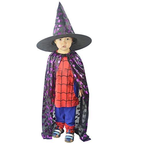 (OdeJoy 80 cm Schwarz Lila Spinne Kürbis Star Muster Bekleidung Kind Erwachsene Halloween Mantel Mantel + Hut Zweiteiliger Anzug Unisex Solid Wizard Witch Cloak+ Hat (Lila,120))