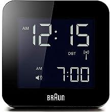 Braun Digital Multi-Region Radio Controlled Clock with Snooze, Negative LCD Display, Quick Set, Beep Alarm in Black, Model BNC009BK-RC