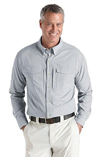 Coolibar, Camicia da viaggio con protezione UV Uomo UPF 50+, Argento (Silver), S