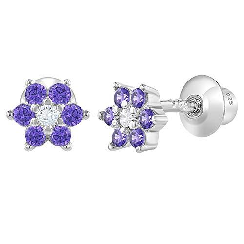 In Season Jewelry Säugling Kleinkind Baby - Schraubverschluss Ohrringe Blume 925 Sterling Silber Lila CZ Zirkonia (Ohrringe Blume Lila)