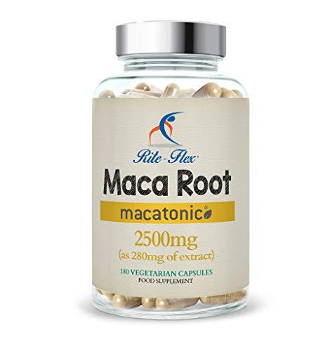 Doppelte Stärke 180 Kapseln (Maca Root Extrakt Kapseln 2500mg, 180 hoch dosierte vegetarische Kapseln ( 6 Monats Bedarf) von Rite Flex)
