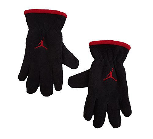 Jordan Nike Youth 8/20Fleece gefüttert Handschuhe schwarz mit rot Jumpman Logo (Jordan Handschuhe)