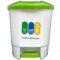Bittamina Cubo de Basura 30 litros con 3 Compartimentos para Reciclaje Color Blanco con Tapa y Pedal Verde.